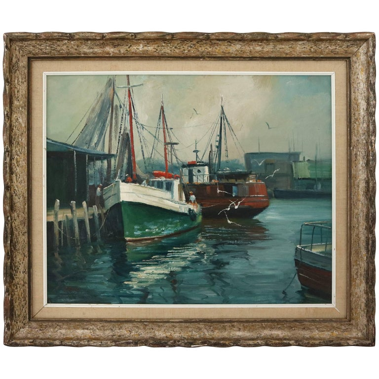 """Oil on Canvas by M. Stoffa, American, Titled """"Rockport"""" For Sale"""