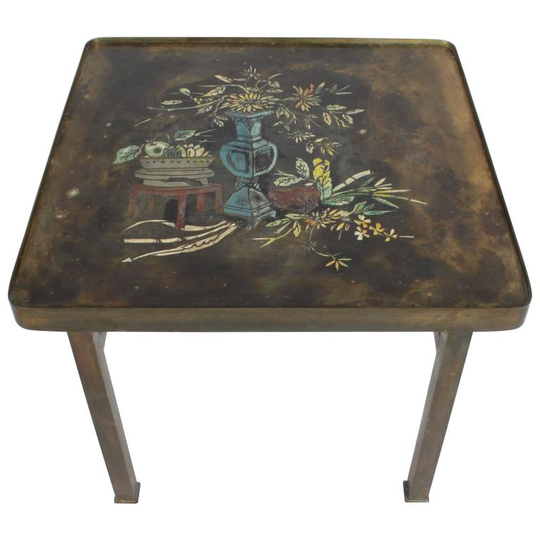 Philip and Kelvin LaVerne Bronze Enamel Side Table Kang Design 1