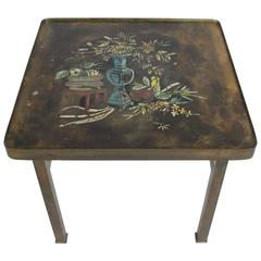 Philip and Kelvin LaVerne Bronze Enamel Side Table Kang Design
