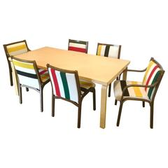 Alvar Aalto Table with Pendleton on Poltrona Frau Chairs