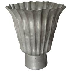 Vintage Fluted Lead Vase on Footed Base