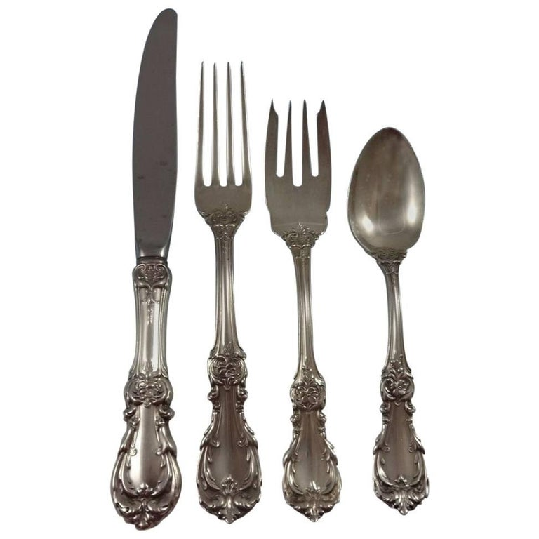 Burgundy by Reed & Barton Sterling Silver Flatware Set 8 Service Lunch 33 Piece For Sale