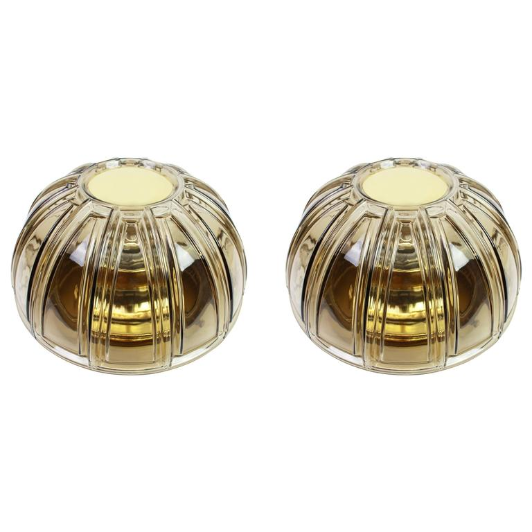 Pair of Brass and Amber Glass Sconces or Flush Mount by Limburg, Germany, 1960s