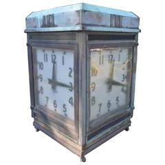 Spectacular Over Sized Antique Bank Four-Sided Outside Clock