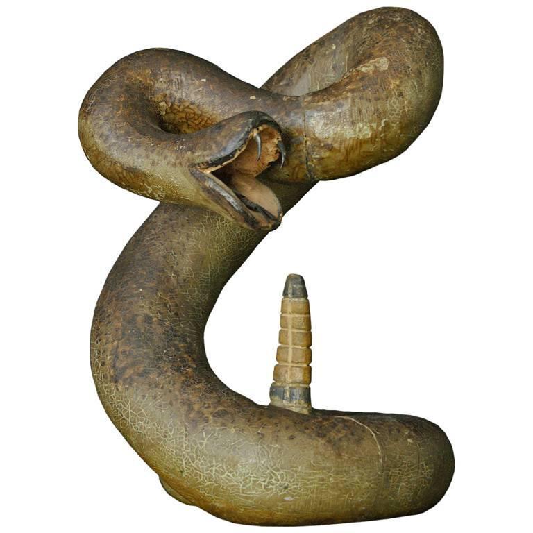 Striking Rattle Snake Carved Wood American Folk Art For Sale