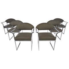 Set of Six Mid-Century Modern Chrome Dining Chairs