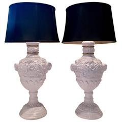 Pair of Neoclassical Lavender Lacquered Cherub and Rams Lamps