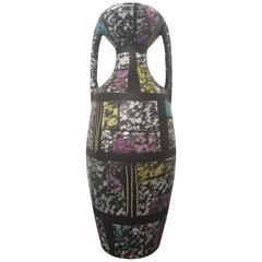 Early Contemporary Handmade Hand Glazed Bodo Mans Hour Glass Vase, 1965