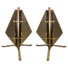 Pair Mid-Century Italian Brass and Glass Table Lights