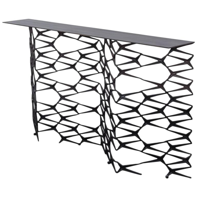Fenced in Console by Uhuru Design, Hand Blackened Steel For Sale