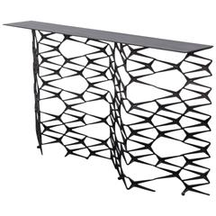 Fenced in Console by Uhuru Design, Hand Blackened Steel