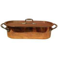 French Copper Fish Poacher with Handles and Lid, 19th Century
