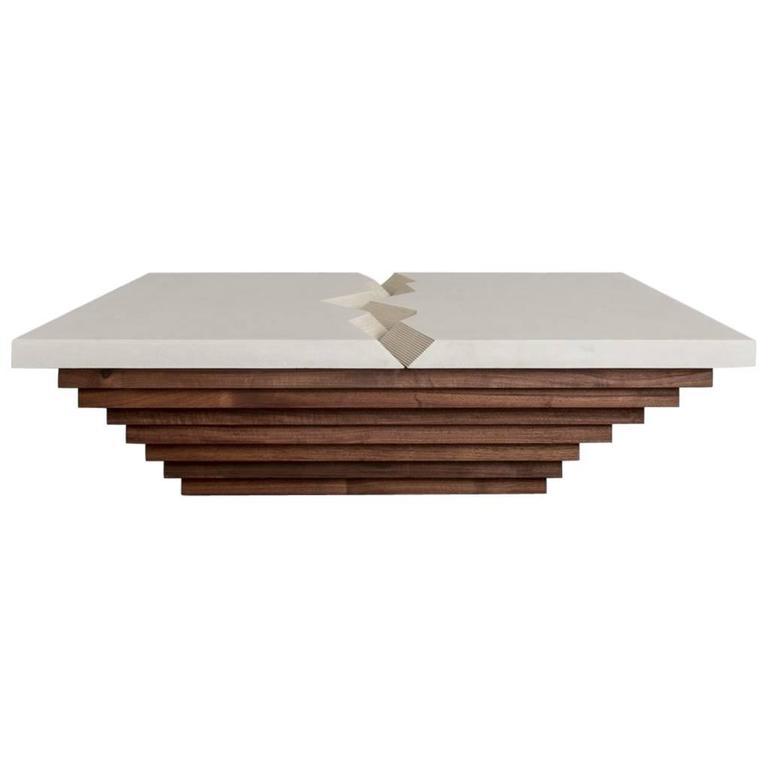 Cast Canyon Coffee Table by Uhuru Design, Polished Concrete, Walnut