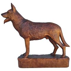 Antiuqe Hand-Carved Wooden German Shepherd Dog Finely Carved 1900