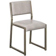 Bandholz Chair in Antiqued Brass with Upholstered Leather Seat and Back