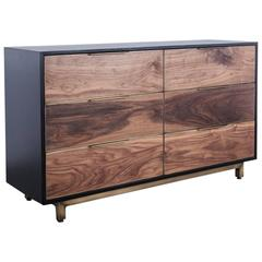 Sutton Dresser by Uhuru Design in Claro Walnut,  Antiqued Brass, and Black Oak