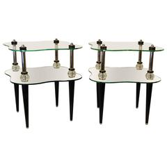 Pair of Stunning Two-Tier Mid-Century Modern Cloud Style End Tables