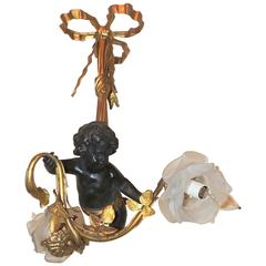 Wonderful French Dore Bronze Patinated Cherub Ribbon Bow Top Fixture Chandelier