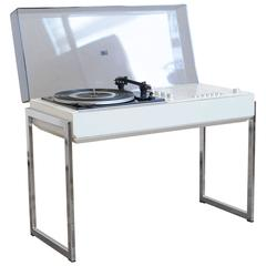 1970s Vintage White Wega 3202 Hifi Dual Design Turntable Record Player Germany