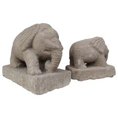 Pair of Hand-Carved Stone Elephants