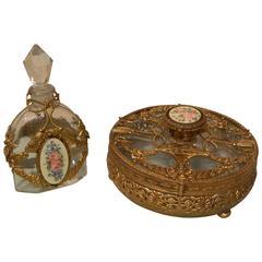 Crystal, Bronze Doré and Enamel Perfume Bottle and Dresser Box, 19th Century