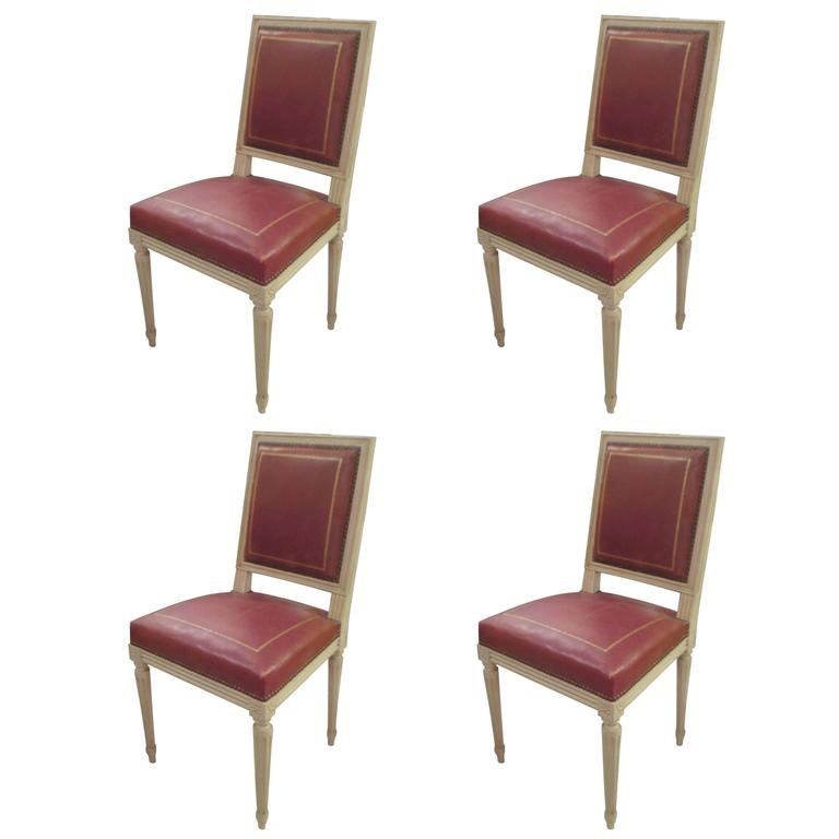 Set Of Four Louis XVI Style Chairs Attributed To Maison