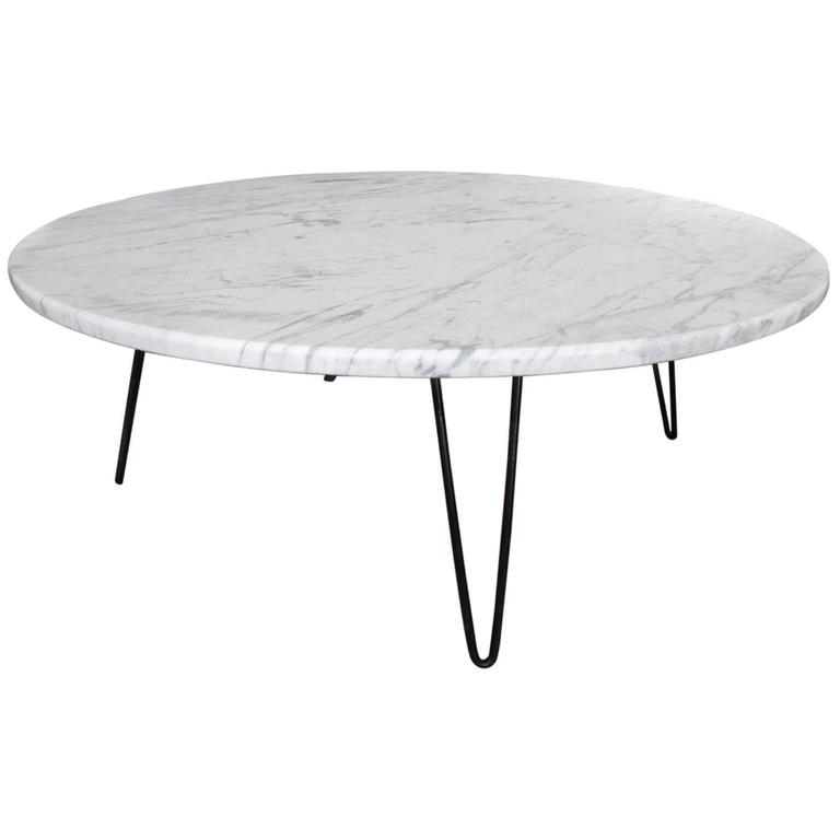 Carrara Marble Coffee Table On Hairpin Legs At 1stdibs
