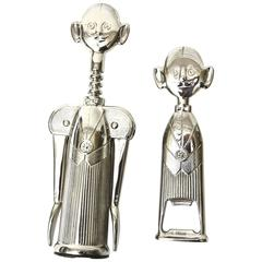 Italian Vintage Silver Plate Whimsical Sommelier Wine and Bottle Opener Set