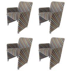 Set of Four Striped Velvet Chairs, Saporiti