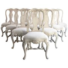 Set of Ten Antique Swedish Rococo Style Dining Chairs