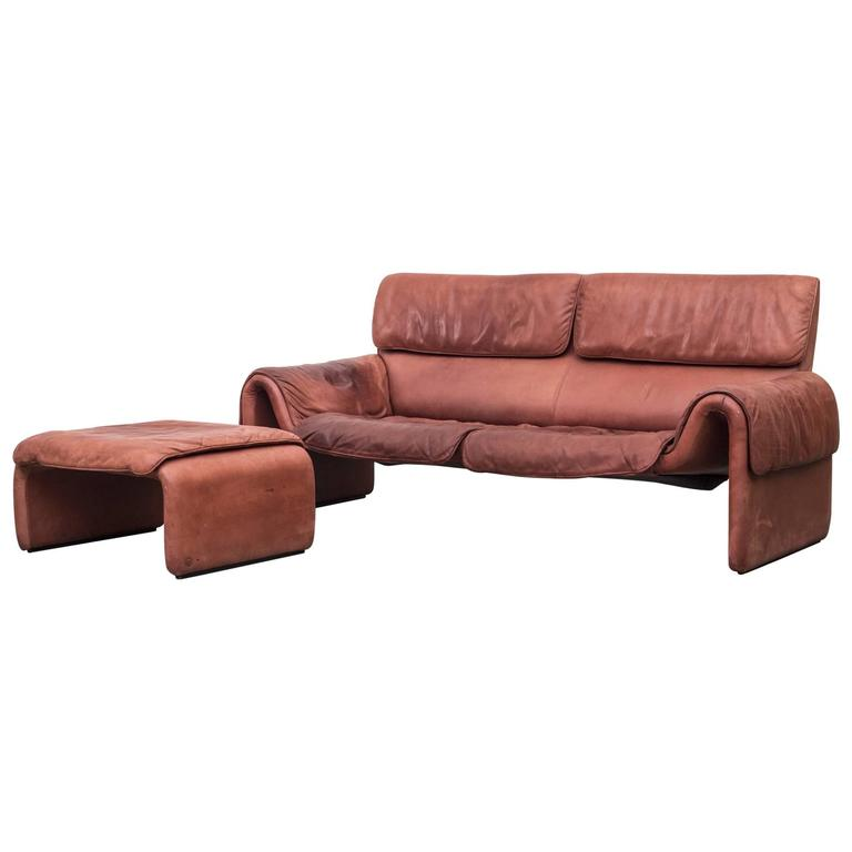 Desede Style Salmon Leather Sofa And Ottoman