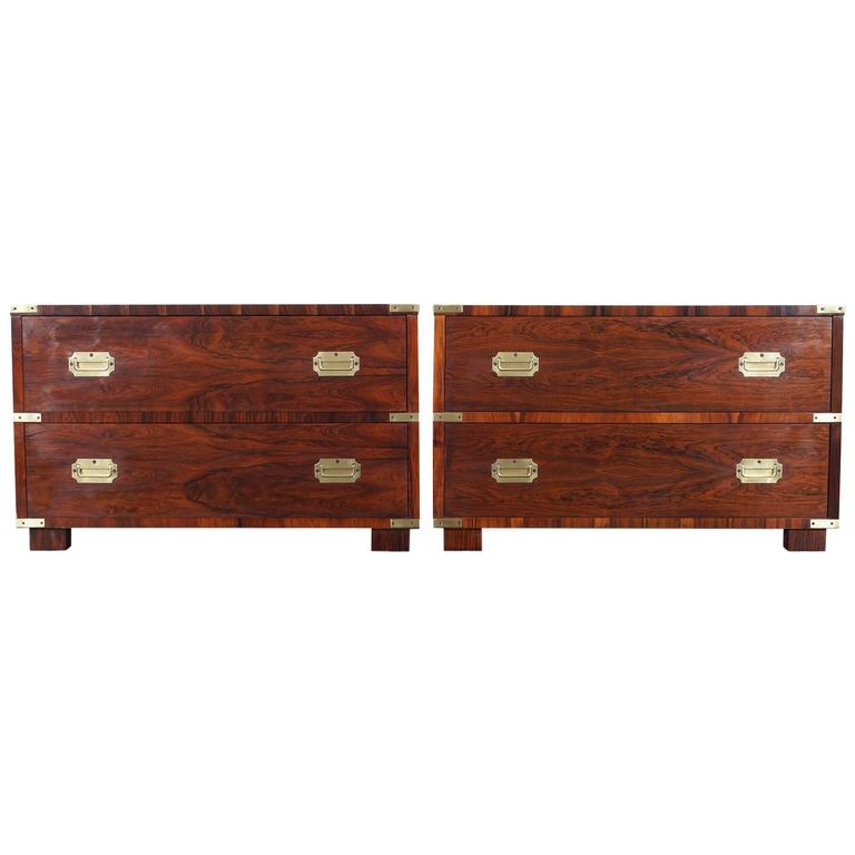 Vintage Rosewood Campaign Style Chest of Drawers by John Stuart