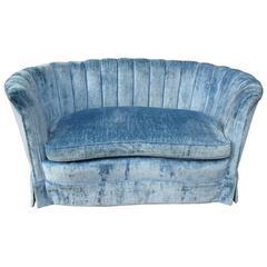 Hollywood Regency Style Blue Velvet Settee