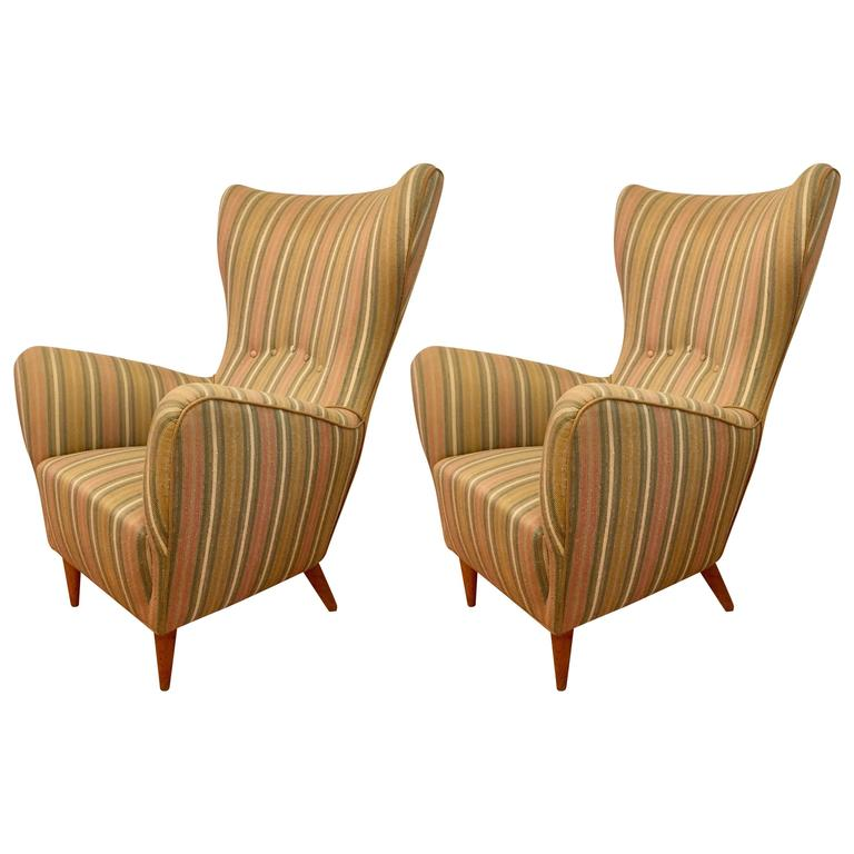 Pair of Italian 1950s Mid-Century Wing Chairs 1