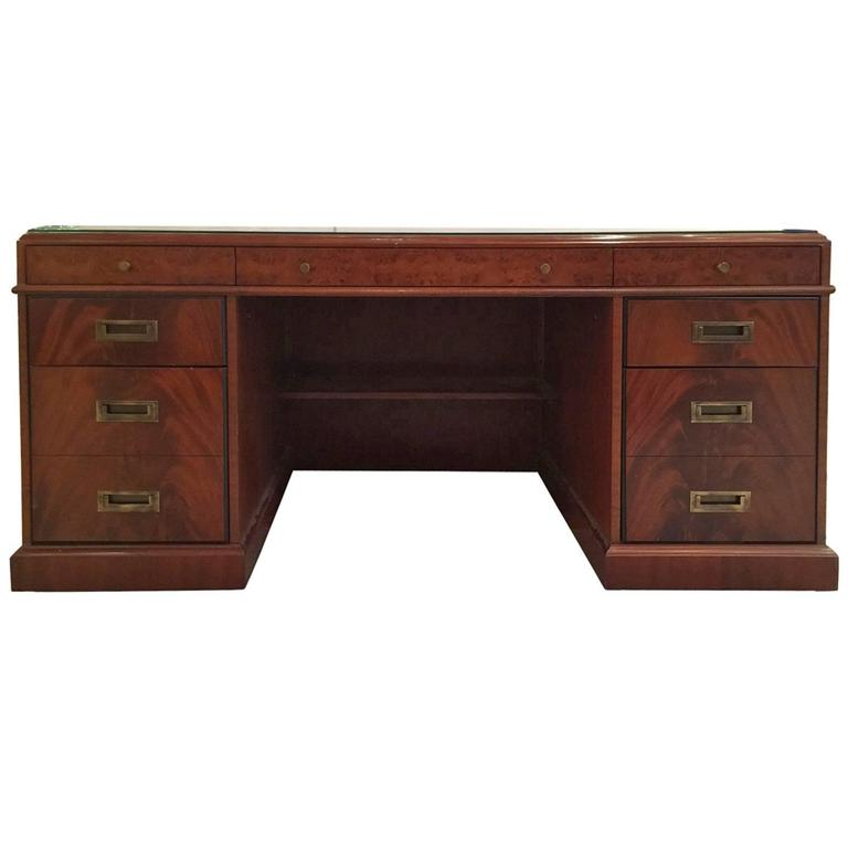 Campaign Style Executive Desk At 1stdibs