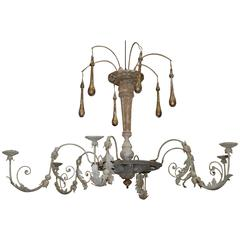 Large Italian Wood and Iron Chandelier