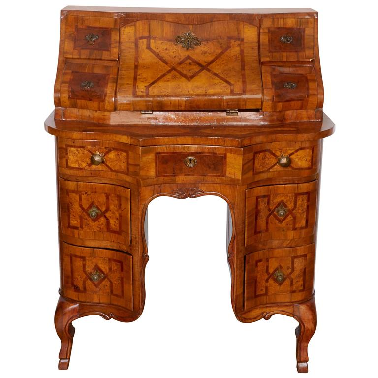 North italian olivewood and marquetry bureau secretaire for Bureau secretaire