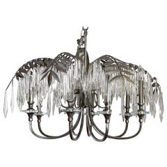 Eight-Light Silvered Metal Palm Fronde Chandelier