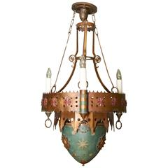 Moorish Style Patinated Brass and Polychrome Decorated Pendant Light by Caldwell