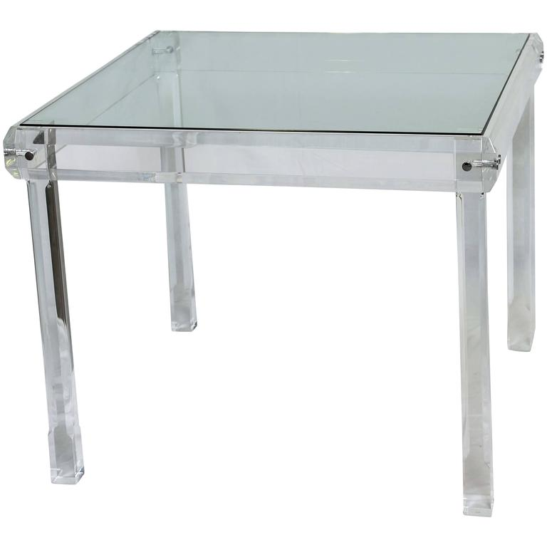 Midcentury Breakfast Table,Vintage, Beveled Lucite with Two-Inch Thick Solid  For Sale