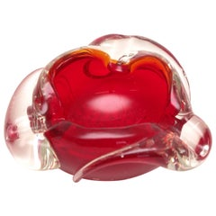 Red and Clear Murano Dish, 1950s, Italy