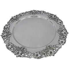 Large Round Sterling Silver Art Nouveau Tray