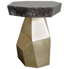 Brass Facet Side Table with Octagon Smoke Crystal Top, One of a Kind