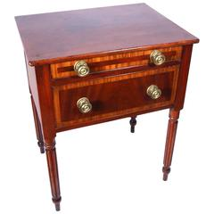19th Century New England Sheraton Mahogany and Cherry Two-Drawer Stand