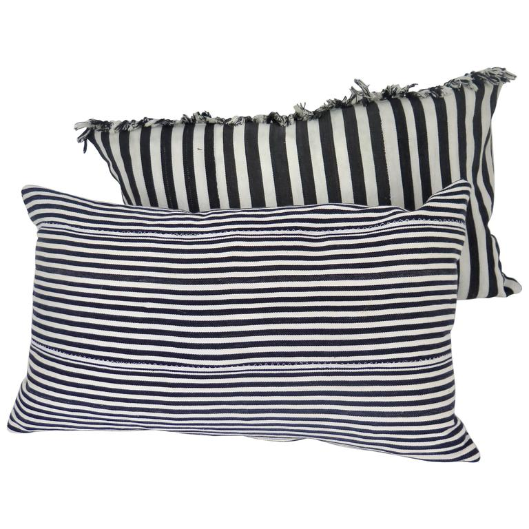 Vintage African Lumbar Pillow in Black and White at 1stdibs