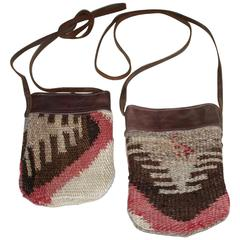 Pair of Navajo Weaving and Leather Trim Saddle Bags
