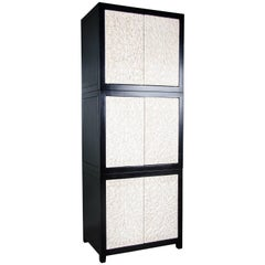 One of a Kind Tall Cream Lacquer Leaf Cabinet by Robert Kuo
