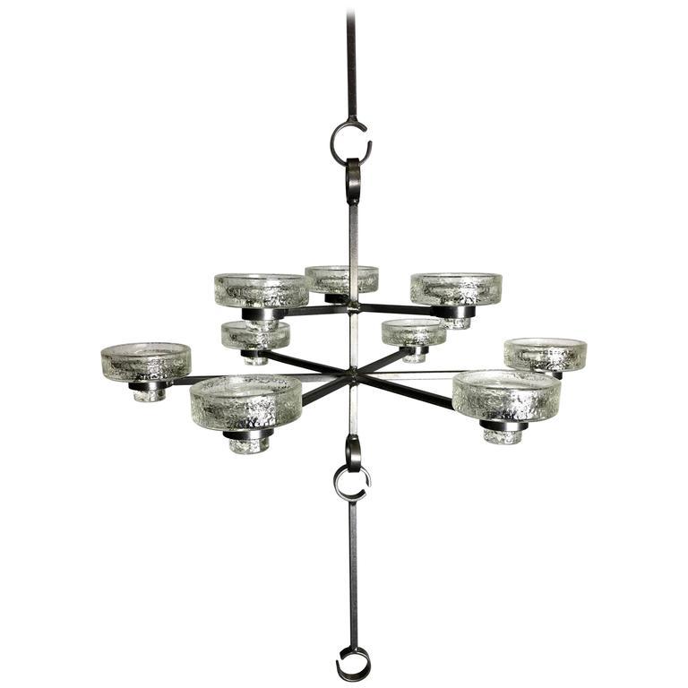 Rare Nine-Light Candle Chandelier by Erik Hoglund for Boda Nova