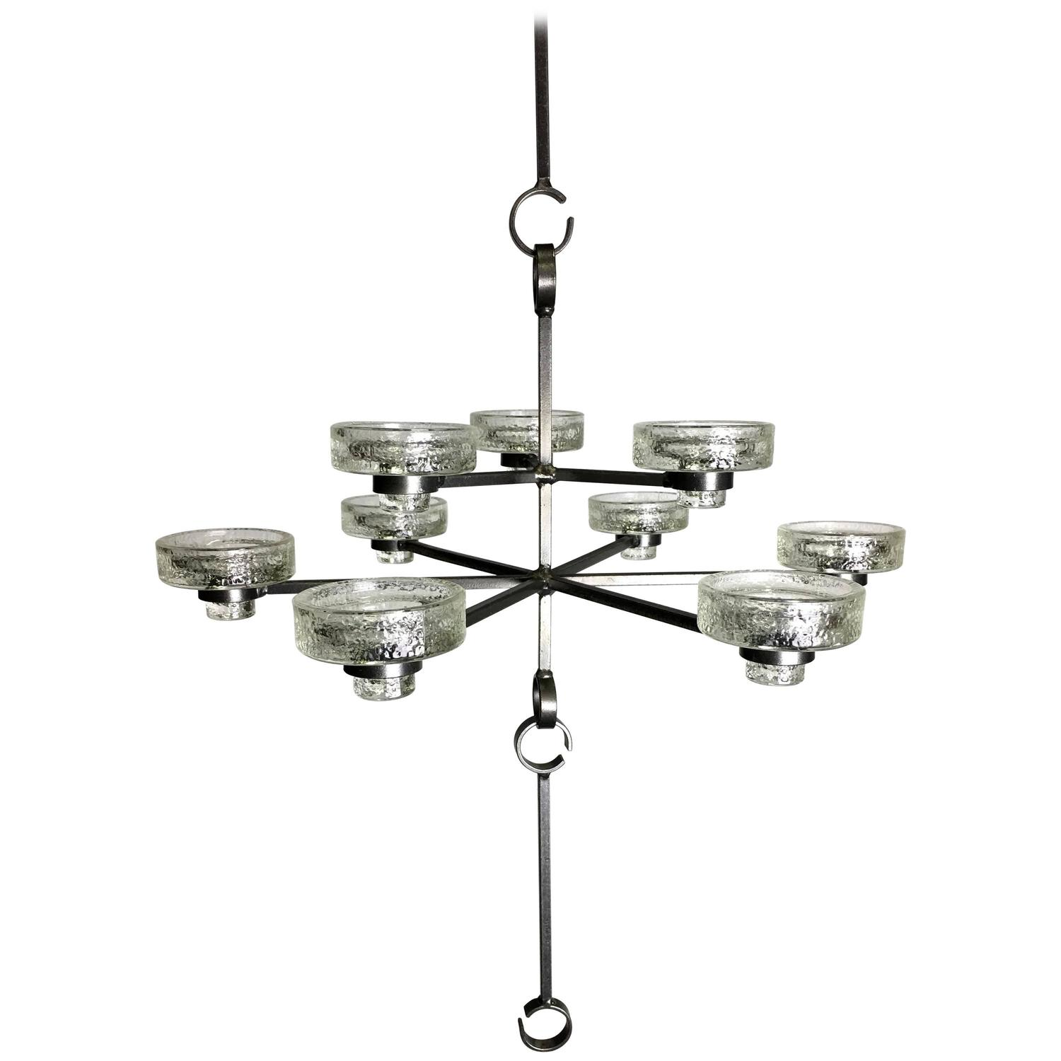 Rare Nine Light Candle Chandelier by Erik Hoglund for Boda Nova
