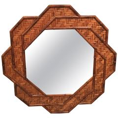 Rattan Woven Reed Bamboo Wall Mirror Octogonal Tropical Palm Beach Wicker